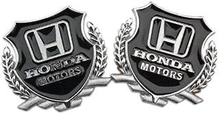 Automaze 2Pc Honda Motors Silver Car 3D Metal Grille Trunk Badge Decal Logo