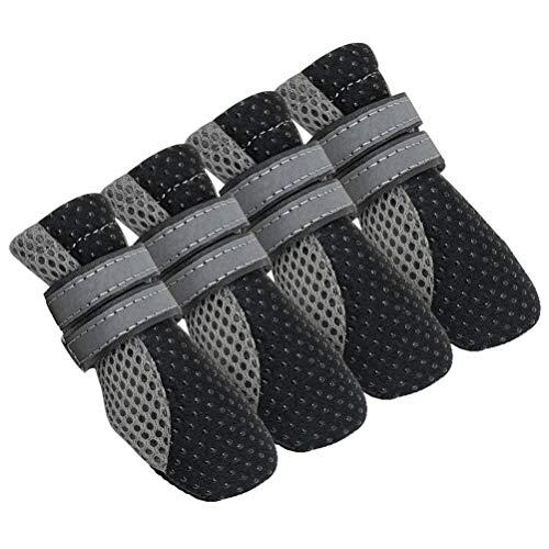 Flashing 4 Piezas Zapatos para Perros Pequeños Botas para Cachorros Reflectantes Antideslizantes Gatos Zapatos para Mascotas Calcetines Zapatillas Protector De Pata para Chihuahua Yorkshire