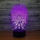 Anime 3D luz noche acrílico ilusión lámpara indios jefe cráneo diseño control remoto táctil USB niños sueño cumpleaños regalo interior creativo decoraciones