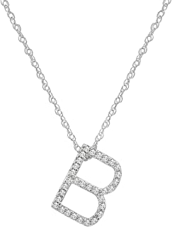 Diamond Initial Pendant Necklace in 14K White Gold on a 14K White Gold 16 inch Chain