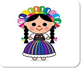 Suike Mousepad Computer Notepad Office Colorful Cartoon Cute of Mexican Doll Character Dress Child Home School Game Player Computer Worker 9.5x7.9 Inch