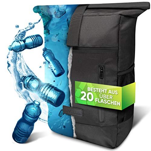 invilus ® - Rolltop Rucksack Damen und Herren aus Recycelten Plastikflaschen | Rucksack Uni | Laptop Rucksack | Rucksack Schwarz | Tagesrucksack Damen | Rucksack Schule | Rucksack Wasserdicht