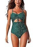 FeelinGirl Mujer Traje de Baño de 1 Pieza Tankini Sexy Diseño Único Lunares Bañador Lunares-Verde XL:Talla-44
