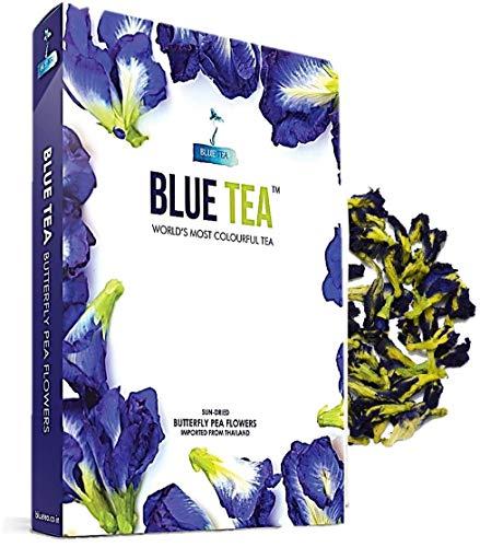 BLUE TEA - Butterfly Pea Flower Tea | 25 grams - 100 Cups | Caffeine Free Herbal Tea - Natural Colorant | For Hot Tea, Iced Tea, Mocktail, Cocktail |