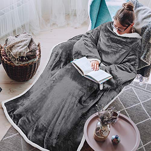 Tirrinia Sherpa Wearable Blanket Ultra Soft Comfy Warm Plush Full Body Throw with Sleeves, Reading Wrap TV Blankets Robe Cover for Adult Grandma Women and Men, Grey