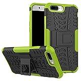 pinlu Funda para Oneplus 5 / Oneplus Five Smartphone Doble Capa Híbrida Armadura Silicona TPU + PC Armor Heavy Duty Case Duradero Protección Neumáticos Patrón Verde