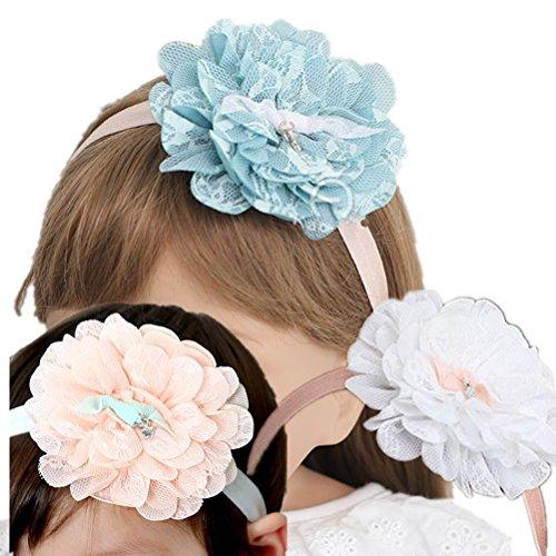 Cuhair 3 pcs Big Sweet en dentelle Fleur Cheveux Hoops Bandeaux cheveux Accessoires Cheveux pour Enfants Bébé Fille