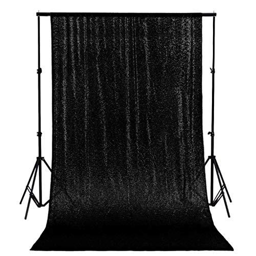 AMZLOKAE Paillettenvorhang, 71 x 224 cm, schwarzer Pailletten-Hintergr&, für Fotografie, Glitzer-Hintergr&, Stoffhintergr&, 244 cm, Duschvorhang, Geburtstag, Hochzeit, (61 x 224 cm, schwarz)