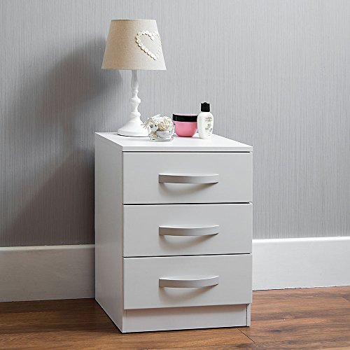 Amazon Brand - Movian High Gloss 3 Drawer Bedside Cabinet, White, 56 x 40 x 36 cm