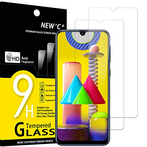 NEW'C Lot de 2, Verre Trempé Compatible avec Samsung Galaxy M21, M31, Film Protection écran Ultra Résistant (0,33mm HD Ultra Transparent) Dureté 9H Glass
