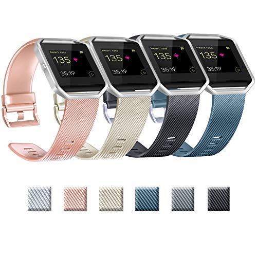 Yandu Correas de repuesto compatibles con Fitbit Blaze, no incluidas Fitbit Blaze y marco (01 Rosegold+Gold+Black+Slate, L)