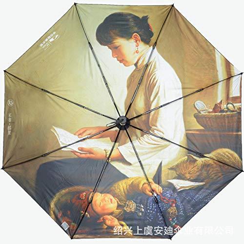 Vollautomatischer Anti-Ultraviolett-Dreifach-Faltschirm mit schwarzem Kunststoff, sonnigem Regenschirm, kleinem frischem Regenschirm - Pinker Pfirsich (manuelle Rückseite) _55 cm * 8k