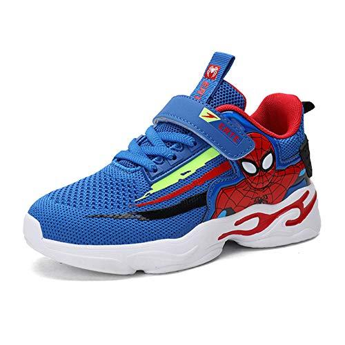XNheadPS Chaussures Enfants Spiderman Cartoon Courir Formateurs Tennis Respirant Léger Chaussures Mode Formateurs Gymnastique,Blue- 31