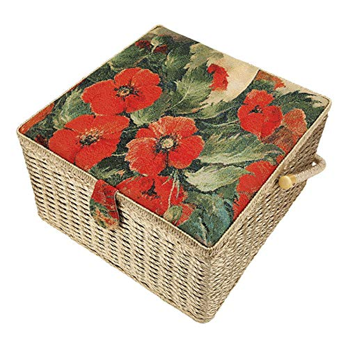 Caja de costura, caja de hilo de agujas hechas a mano de gran capacidad, para bordar con cojines de agujas Accesorio de tejer Costura