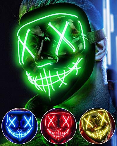 Maschera LED Halloween, the Purge Mask LED che si Illumina nella Notte, LED Maschera Viso 3 Modalità di Luci, Maschera da La Notte Del Giudizio per Costume Cosplay Festa e Party di Carnevale - Verde