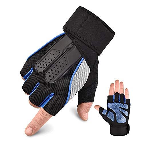Guantes Entrenamiento Gimnasio. Guantes Hombre / Mujer. Pesas-Musculación, Fitness, Crossfit. Realizados con microfibras, Antideslizantes, Transpirables y cómodos. (Azul, L)