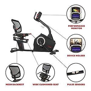 Sunny Health & Fitness Programmable Recumbent Bike - SF-RB4850