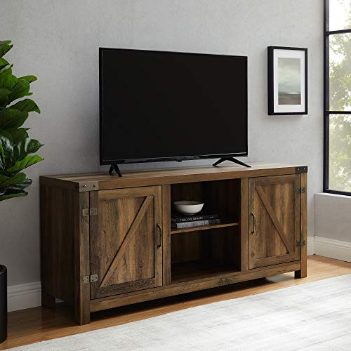 """Walker Edison Furniture Company Farmhouse Barn Wood Universal Stand for TV's up to 64"""" Flat Screen Living Room Storage Cabinet Doors and Shelves Entertainment Center, 58 Inch, Reclaimed Barnwood Brown"""