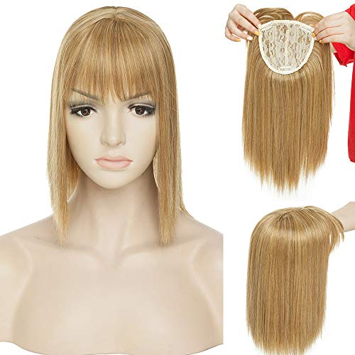 Hair Topper Donna Capelli Clip Protesi Extension 28cm Fascia Unica Hair Top Toupee Toupet Base Crochet 4 * 2 Parrucca 95g - Sabbia Scura mix Biondo Dorato mix Biondo Chiarissimo