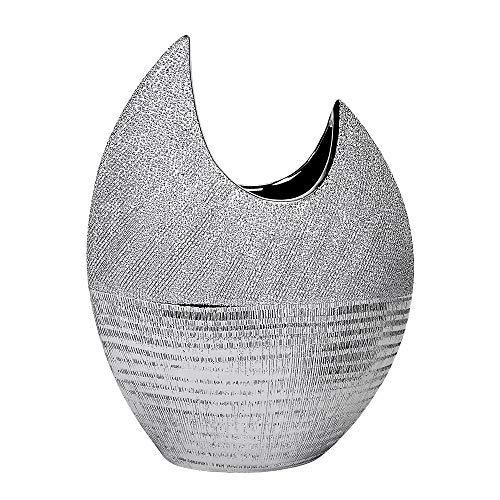 formano pregiato vaso di fiori piatto con argento strisce, 30 cm