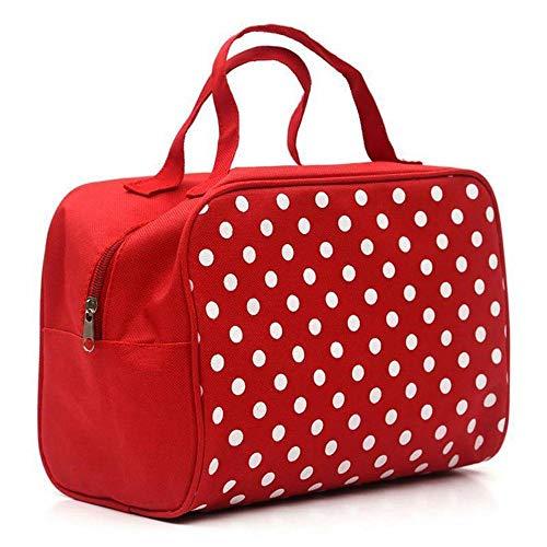 Sacs à cosmétiques Fashion Lady Organizer Multi Functional Storage Dots Women Makeup Bag with Pockets Toiletry Pouch-Red_25 * 20 * 12cm