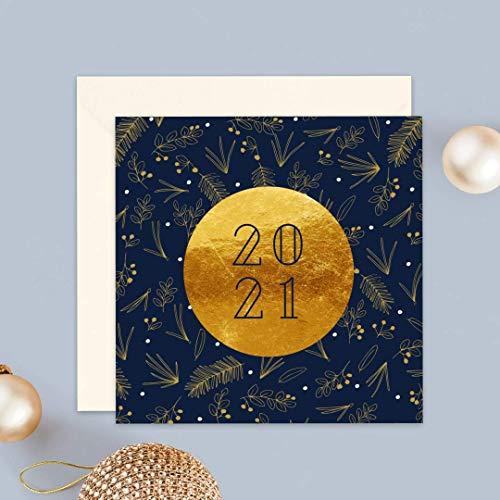 Carte de voeux 2021 • Champêtre Bleu et Doré • Lot de 16 Cartes • Papier haut de gamme • 16 Enveloppes Couleur Ivoire • 14x14 cm Pliée • Idéal pour souhaiter la Bonne Année et Nouvel An • Popcarte