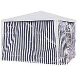 Seitenwände Pavillon 3x2m blau/weiß PE 2Stück 1xFenster Gartenzelt Seitenteile