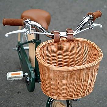Childrens Bicycle Basket,Girls Bike Basket,Waterproof No Break Wicker Bicycle Front Basket with Leather Straps,Fashion Childrens Bicycle Front Basket