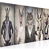 Runa Art Wandbild XXL Tiere Abstrakt 200 x 80 cm Beige Grau 5 Teilig - Made in Germany - 018355a