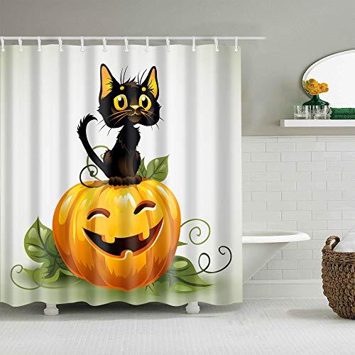 Duschvorhang, Kürbis- & schwarze Katzenmuster, wasserdicht, schimmelresistent, Polyester, 180 x 180 cm
