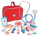POXL Madera Médico Juguetes, 28 Piezas Doctora Juguetes de Madera Médico Roles Kit con Estetoscopio para Niños 3 4 5 6