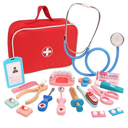 Oeasy 28 Stück Arztkoffer Kinder Holz, Holz Doktorkoffer Holz Arztkoffer Doktorspiele Arztspiele Rollenspiel Spielzeug für Kinder ab 3 Jahre