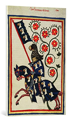 kunst für alle Leinwandbild: Buchmalerei Zürich Codex Manesse Hartmann von AUE - hochwertiger Druck, Leinwand auf Keilrahmen, Bild fertig zum Aufhängen, 55x85 cm