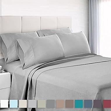 Empyrean Bedding Premium 6-Piece Bed Sheet & Pillow Case Set – Luxurious & Soft Queen Size Linen, Extra Deep Pocket Super Fit Fitted Silver Light Gray Sheets