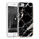 kwmobile Carcasa Compatible con Apple iPhone 7/8 / SE (2020) - Funda de TPU y mármol clásico en Negro/Blanco