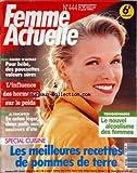 FEMME ACTUELLE [No 444] du 29/03/1993 - les meilleures recettes de pommes de terre -le nouvel alcoolisme des femmes -pour bebe des poussettes valeurs sures -l'INFLUENCE DES HORMONES SUR LE POIDS -EN COTON LEGER / 2 PULLS AUX COULEURS D'ETE