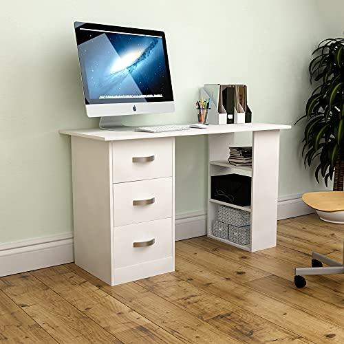Vida Designs Mason Escritorio estantes y 3 cajones, para la Oficina en el hogar, PC/Ordenador portátil, Mesa de Estudio, estación de Trabajo, Muebles, Color Blanco, Madera de diseño