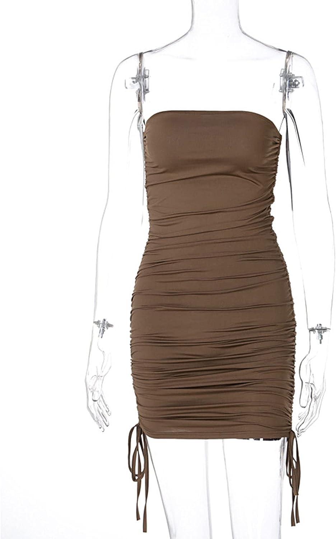 iiniim Women's Summer Sleeveless Tube Top Sexy Strapless Ruched Bodycon Mini Club Dress