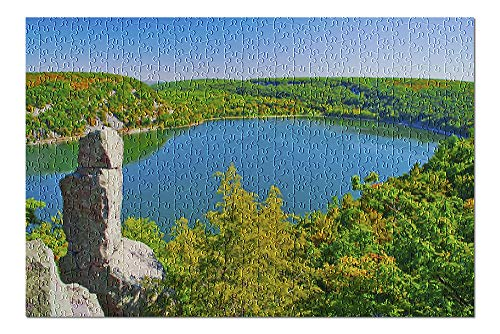 Devil's Lake, Wisconsin - View from the Rocks with Blue Water & Fall Colors (500 Piece Premium Jigsaw Puzzle for Adults and Family, 13x19)