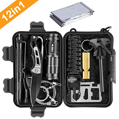 LEVORY J Gifts for Men Dad Husband Boyfriend him,Survival Gear, Emergency Survival Kits 12 in 1,Cool Birthday Gifts for Men,Survival Gear,Tactical Gear,Fishing Hunting Hiking Camping Gear