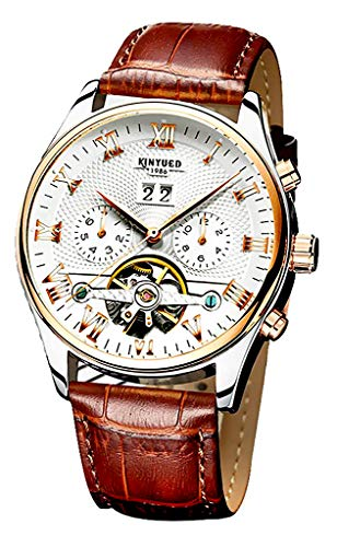 Men's Self-Wind Tourbillon Mechanical Watches Water Resistant Automatic Skeleton Wristwatches (Silver Gold White Leather Strap)