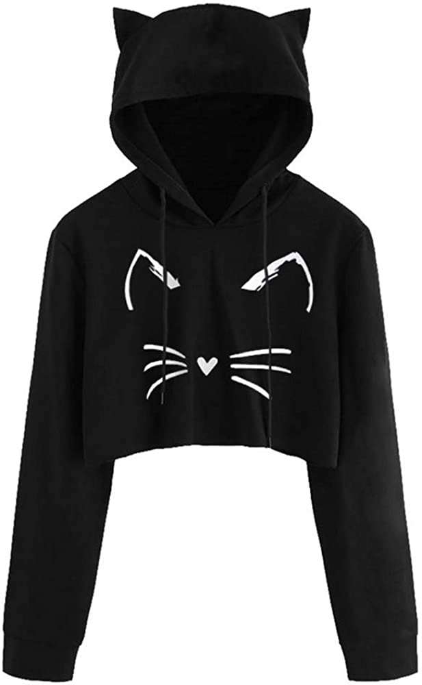 Women Sexy Crop Tops Casual Novelty Hoodies Cat Kitty Print Pull
