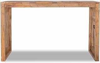 SHENGFENG Mesa AuxiliarMesa de Centro Aparador o Tablero AltoTeca con Un Acabado Natural 120 x 35 x 76 cm