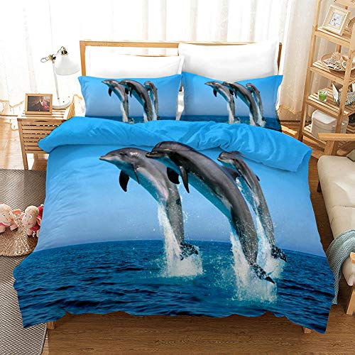 Qiuka Delfín 1 Funda Nordica 140x200cm + 2 Fundas de Almohada 48x74cm,Mar Azul Animales Ropa de Cama Infantil de Microfibr, Juego de Ropa de Cama Cierre con Cremallera