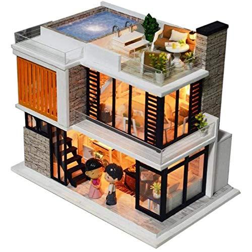 ZHANG Modelo Decoración Casa de Madera DIY Casa de Muñecas Ensamblada Hecha a Mano Modelo de Cabaña Juguete Infantil Regalo 3D Mini Casa de Muñecas de Madera