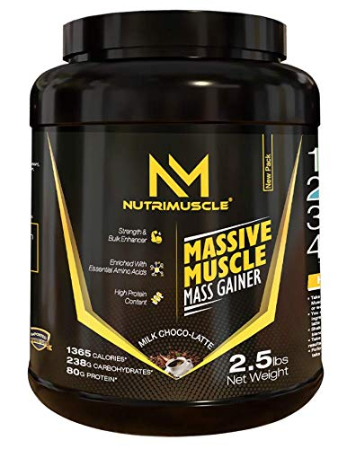 NUTRIMUSCLE MASSIVE MUSCLE MASS GAINER - 2.5 LBS - 1.134 KGS - CHOCO TREAT FLAVOUR - FOR MUSCLE AND MASS GAIN - MADE IN INDIA