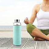 Ryaco Glasflasche Trinkflasche Classic Tragbare 550ml BPA-frei für unterwegs Sportflasche Glas Wasserflasche zum Mitnehmen von kalten Heiß Getränken mit Neopren Tasche und Schwammbürste (Minze Grüne) - 5