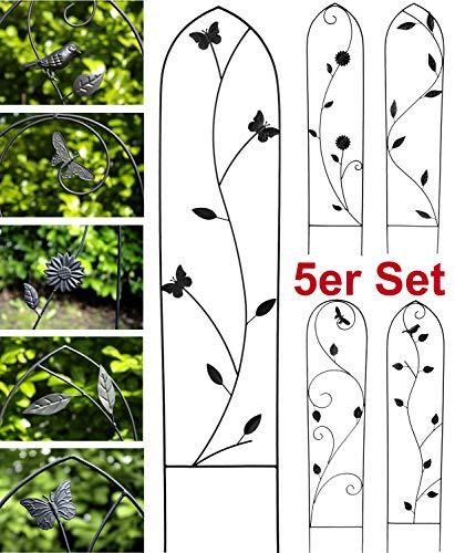 GeKi Trend 5er Set Rankhilfe Rankgitter Eisen Metall schwarz 21 x 102 cm groß Antik-Stil