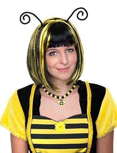 Perücke zum Bienen Kostüm mit Fühlern - Schwarz Gelb - Schöne Kurzhaar Bob Perücke gestreift zu Karneval Mottoparty Festival Junggesellenabschied