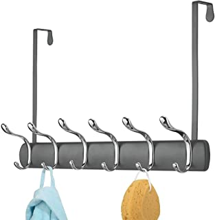 mDesign Decorative Over Door Long Easy Reach 12 Hook Metal Storage Organizer Rack to Hang Coats, Jackets, Hoodies, Clothing, Hats, Scarves, Purses, Leashes, Bath Towels & Robes - Graphite Gray/Chrome